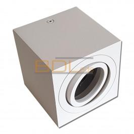 Spot carré en saillie orientable blanc pour ampoule LED GU10/MR16