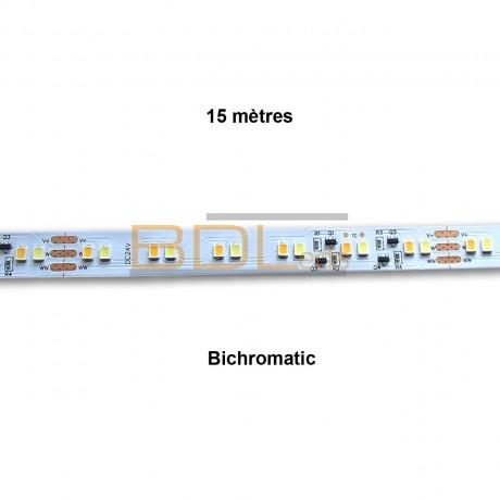 Ruban led 15 mètres CTT blanc chaud/froid 24V