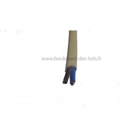 Fil blanc ivoire plat ovoide bi-polaire 2x0.75mm²