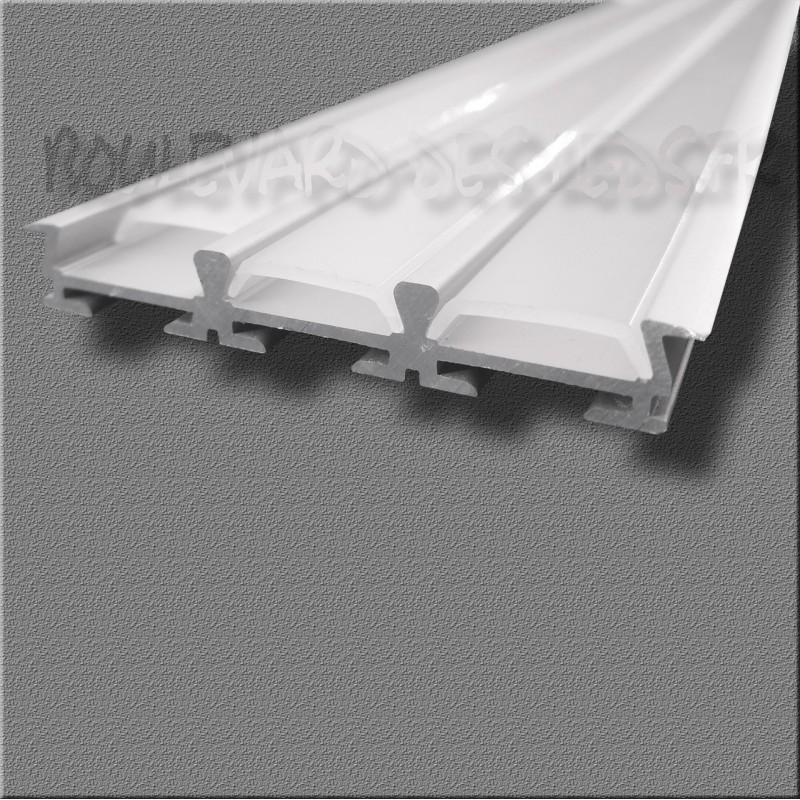 Profilé aluminium encastrable 3 bandes pour led - Boulevard des leds