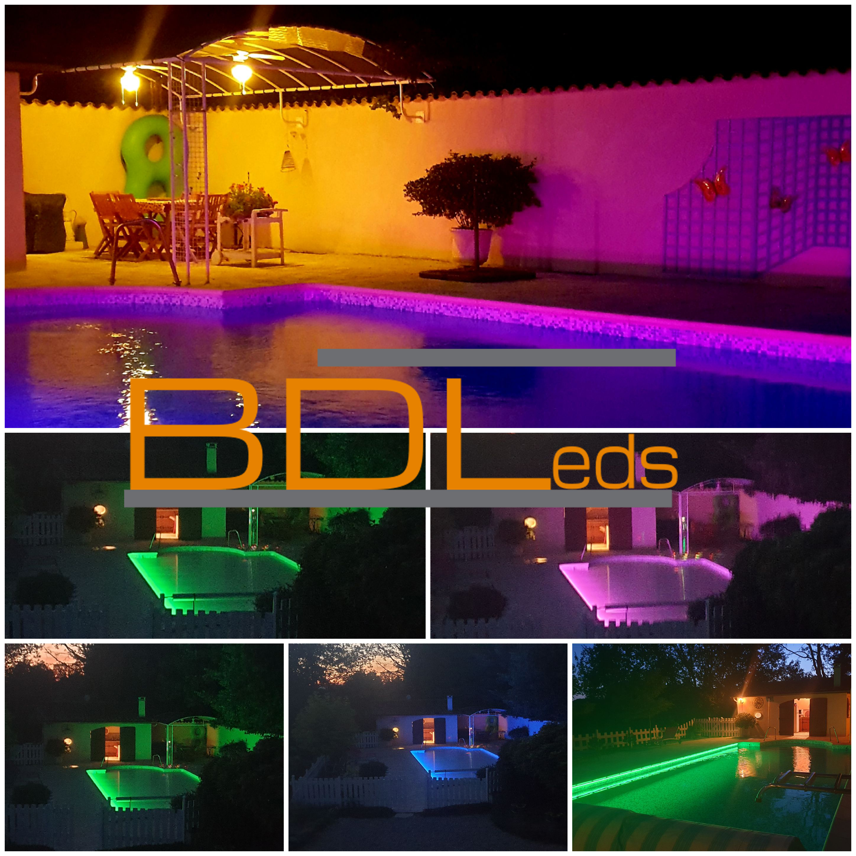 mosaique piscine éclairage led RGB neon flex